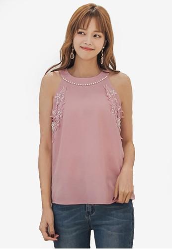 Yoco pink Floral Embroidered Halter Top B97E8AA3F3E03FGS_1