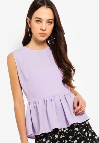 Something Borrowed purple Peplum Top 31E77AA6A8DC9AGS_1