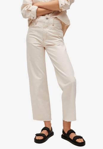 Mango beige Crop Wideleg Jeans 795FBAAEE7B0C3GS_1