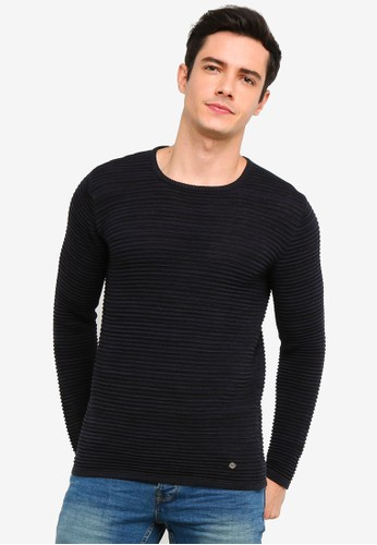 !Solid navy Struan Melange Knit Sweater 3A5FEAAA1C7405GS_1