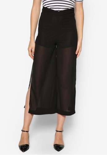 Melda 高zalora 心得腰側開衩闊管褲, 服飾, 服飾