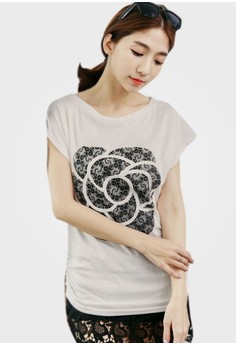 Flowers On Flowers Ruched Tee