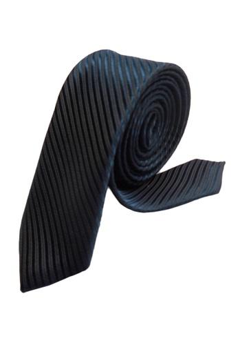 Well Suited blue Solid Stripe Slim Necktie B8E7DAC78CBDB3GS_1