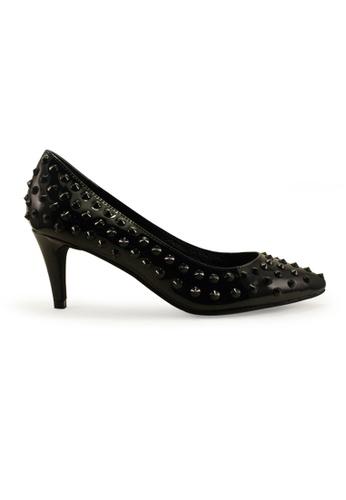 Gripz black Priky Pointy Studded Mid Heels GR357SH16OHJSG_1