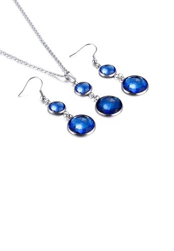 Glamorousky blue Fashion and Elegant Geometric Round Blue Cubic Zirconia 316L Stainless Steel Necklace and Earring Set A2068AC4608C0BGS_1