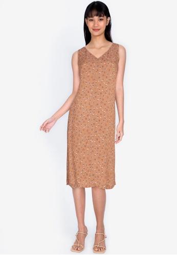 ZALORA BASICS multi V Neck Column Dress 6C290AA0EE2339GS_1