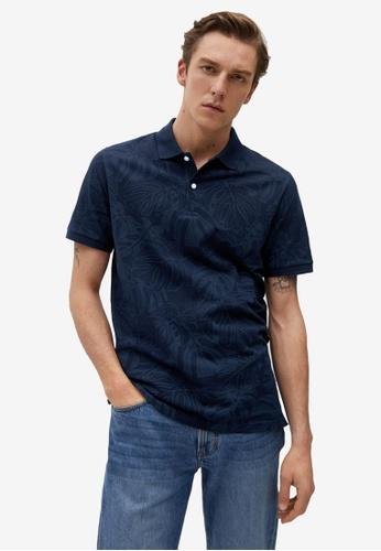 MANGO Man blue Organic Cotton Printed Polo Shirt 6679AAA5C88C7AGS_1