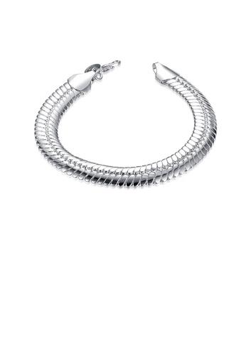 Glamorousky silver Simple Snake Bracelet EF8F1ACF9A3AE4GS_1