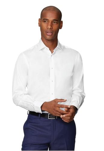 T.M. LEWIN white T.M.Lewin Premium Satin Slim Fit White Single Cuff Shirt with Liberty Fabric Trim 4C798AA6C33C87GS_1