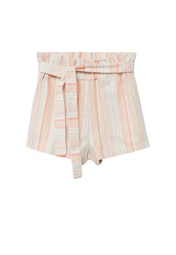MANGO KIDS beige Striped Paperbag Shorts 8D94BKA2262BD9GS_1