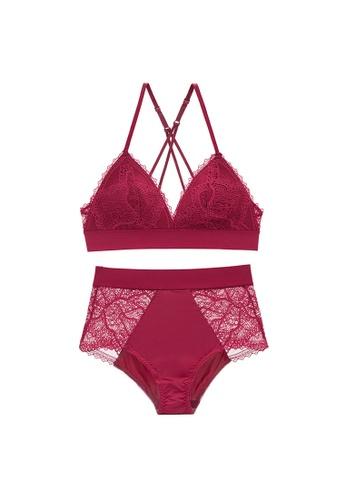 Glorify 紅色 Premium Red Lace Lingerie Set 58A06US368B230GS_1