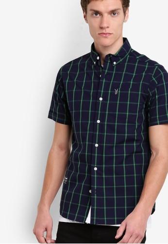 格紋短袖襯衫, 服飾, 短袖zalora 心得襯衫