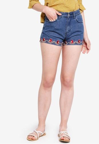 Something Borrowed blue Embroidered Hem Denim Shorts 93582AAD04C40EGS_1