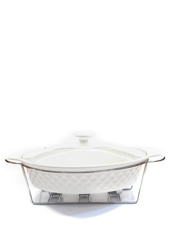Slique white Premium Oval Casserole Dish 3 Burner 2.6L 00DE0HLEA8A649GS_1