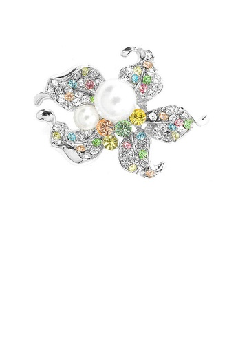 Glamorousky multi Flower Brooch with Multi-color Austrian Element Crystals and Fashion Pearl 43EB9ACD2F3E87GS_1