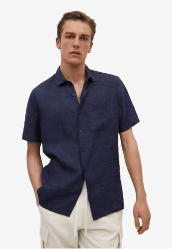 MANGO Man blue 100% Linen Short Sleeve Shirt 42380AAAC3B557GS_1