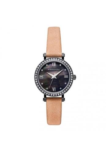 BCBG brown BCBGMAXAZRIA BG50674003 Black and Tan Leather Watch BCE96AC93C9C9FGS_1