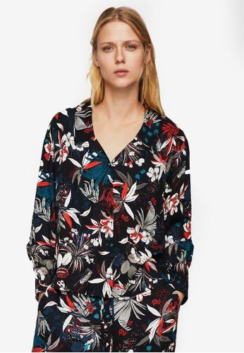 Mango black Floral Print Shirt 08002AAC3CAE18GS_1