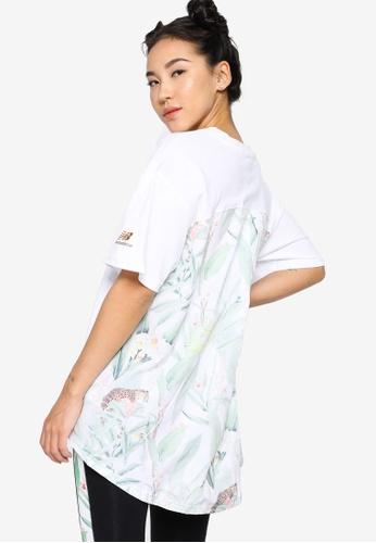 New Balance white NB Essentials Botanical Knit Woven Mix Tee 41011AA8622512GS_1