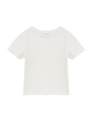 MANGO KIDS white Ribbed Cotton T-Shirt 2E6B1KABED3E4BGS_1