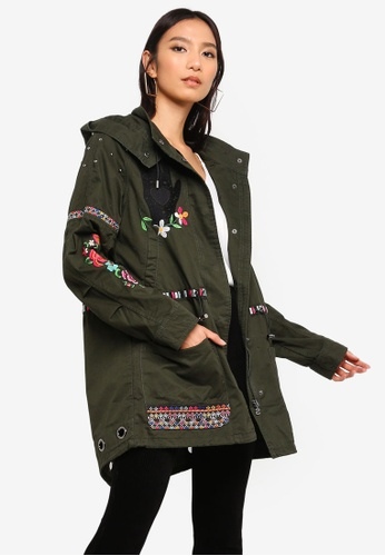Desigual green Green Parka With Embroidery 601DCAAFA2D417GS_1
