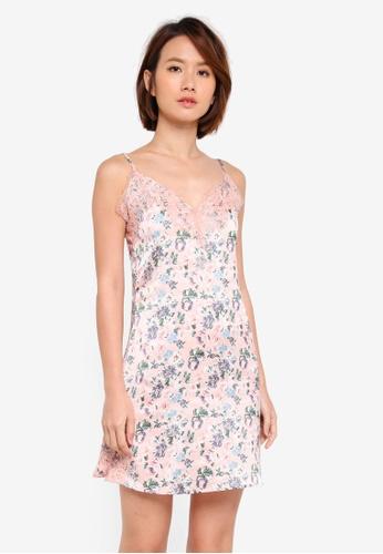 Dorothy Perkins pink Pink Pretty Floral Slip Dress 191EAAAA742B2EGS_1