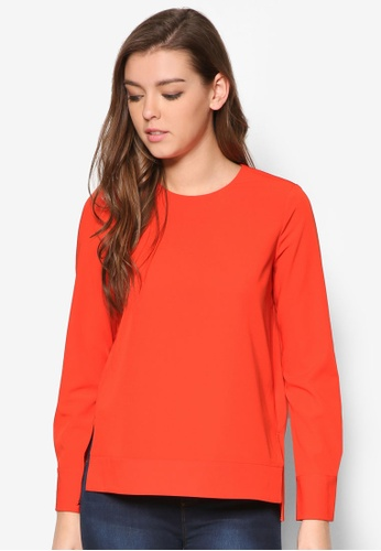 WAREHOUSE red Dipped Hem Top WA653AA57OYOMY_1