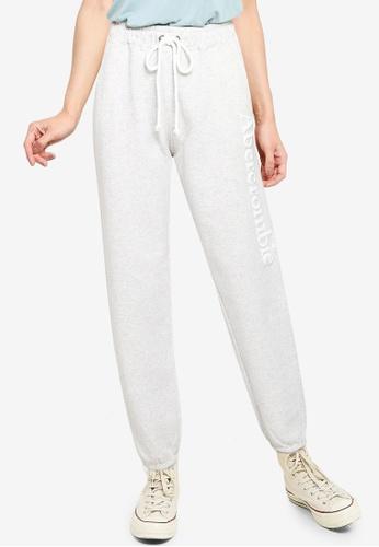 Abercrombie & Fitch grey Flock Trend Logo Pants 9291BAA3EA06DEGS_1