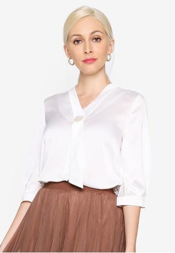 Hopeshow white Cropped Sleeve V-Neck Chiffon Blouse E21E0AAD8A01F5GS_1