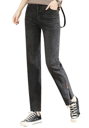 A-IN GIRLS black Casual All-Match Jeans 73DEAAACA1C249GS_1