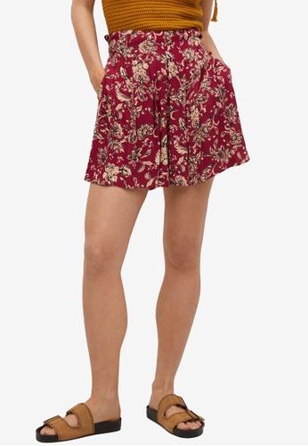 Mango red Printed Flowy Shorts C0648AA8C0022DGS_1