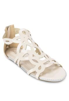 Flat Sandals with Zip
