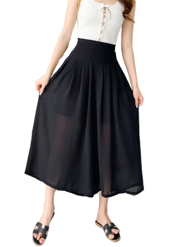 Halo black Wide Leg Cropped Pleated Pants 9D839AAC842A68GS_1