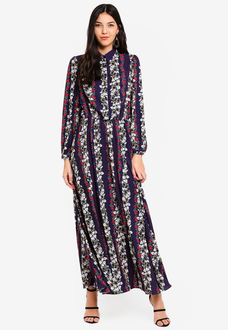 Long Print Wrap Sleeve Floral Multi Dress Liquorish S8Awqf