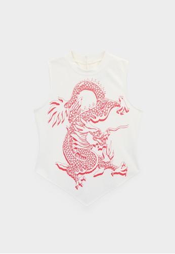 Pomelo white Sleeveless Dragon Print Top - White EAB05AA79649A8GS_1
