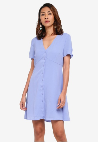 Glamorous blue Ruched Sleeves Dress C8C67AAC020881GS_1