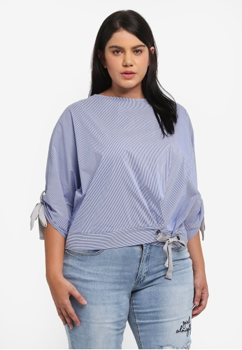 ELVI blue Plus Size Eyelet Detail Stripe Top EL779AA0T1PMMY_1