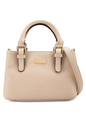 Unisa beige Saffiano Multi-Compartment Convertible Tote Bag UN821AC62VDTMY_1