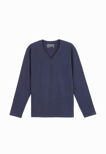 居家V領長袖上衣 (有機棉)-93015-丈青, esprit專櫃服飾, 長袖T恤
