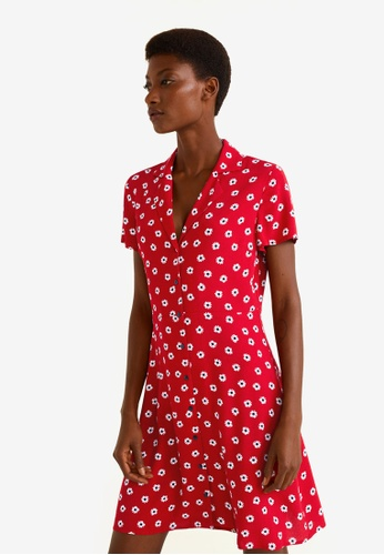 Mango red Printed Shirt Dress D6A2DAA44FF547GS_1