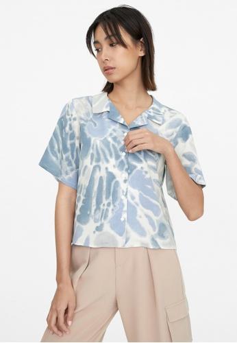 Pomelo blue Tie Dye Button Up Shirt - Blue FF749AA8EAE3C8GS_1
