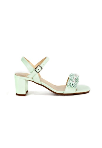 Shu Talk green Floral Trim Sandal Heels with Ankle Straps E7F14SH0D54C45GS_1