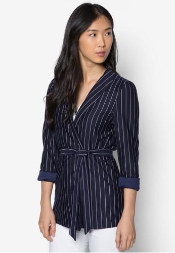 繫帶條紋裹式外套,zalora時尚購物網評價 服飾, 外套