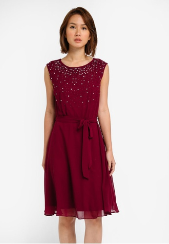 Wallis red Berry Embellished Fit And Flare Dress WA800AA0SITLMY_1
