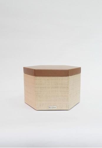 Grassroots brown Hexagonal Box (Medium) 2E4B9HL821F726GS_1