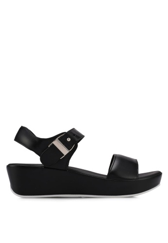 VINCCI black Strappy Wedges 87461SHF9930FAGS_1