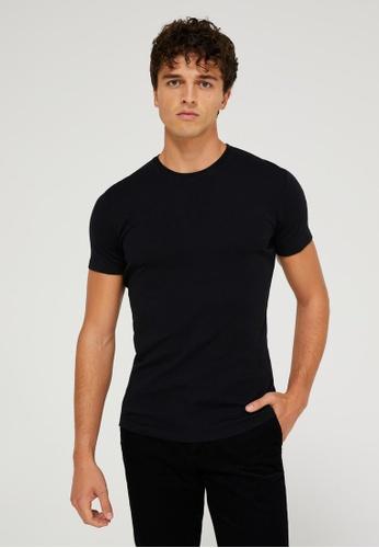 SISLEY 黑色 素色基本款短袖T恤 DD5E0AA47A6C86GS_1