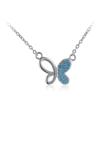 Glamorousky blue 925 Sterling Silver Fashion Elegant Butterfly Blue Cubic Zircon Necklace AA584ACFE25E93GS_1