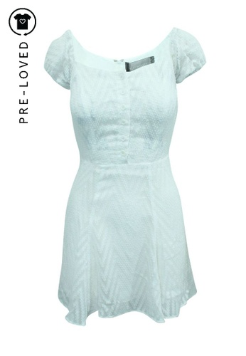 Reformation beige Pre-Loved reformation White Short Sleeve Dress with Buttons 3C48BAA7D29054GS_1