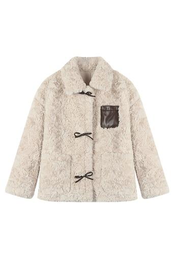 Twenty Eight Shoes beige VANSA Solid Color Lamb Wool Coat  VCW-C014410 C1B4DAAF824C9EGS_1